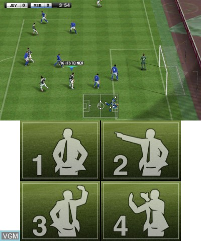 In-game screen of the game Pro Evolution Soccer 2013 3D on Nintendo 3DS