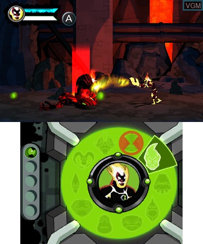 In-game screen of the game Ben 10 - Omniverse on Nintendo 3DS