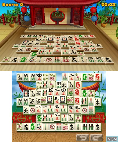 In-game screen of the game 3D MahJongg on Nintendo 3DS