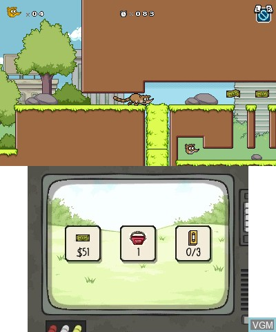 In-game screen of the game Regular Show - Mordecai & Rigby in 8-Bit Land on Nintendo 3DS