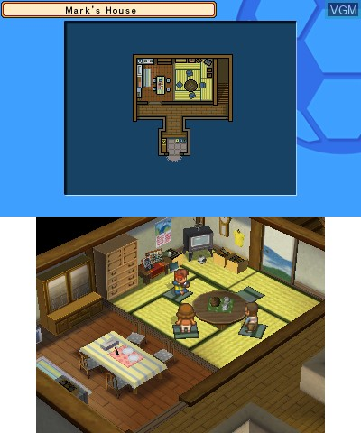 In-game screen of the game Inazuma Eleven 3 - Team Ogre Attacks! on Nintendo 3DS