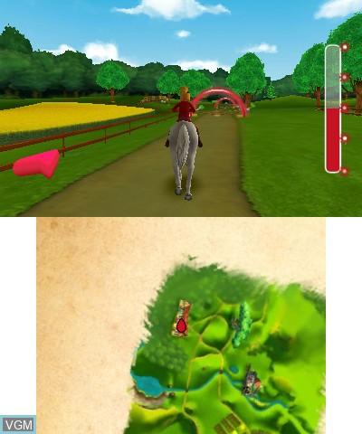 In-game screen of the game Bibi & Tina - Das Spiel zum Film on Nintendo 3DS