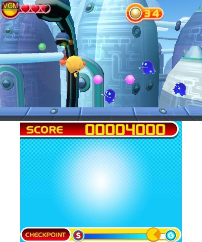 In-game screen of the game Pac-Man and the Ghostly Adventures on Nintendo 3DS