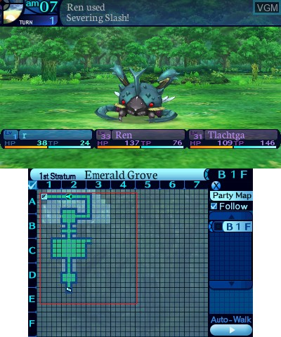 In-game screen of the game Etrian Odyssey Untold - The Millennium Girl on Nintendo 3DS