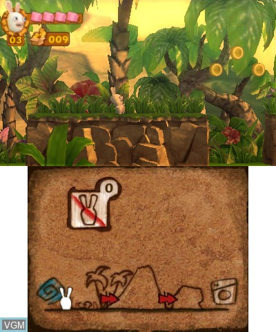 In-game screen of the game Rayman and Rabbids Family Pack on Nintendo 3DS