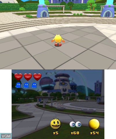 In-game screen of the game Pac-Man and the Ghostly Adventures 2 on Nintendo 3DS