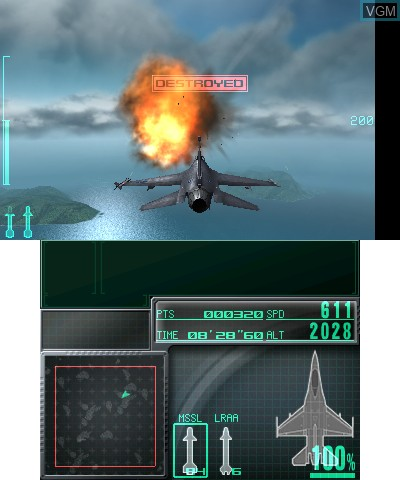 In-game screen of the game Ace Combat - Assault Horizon Legacy+ on Nintendo 3DS