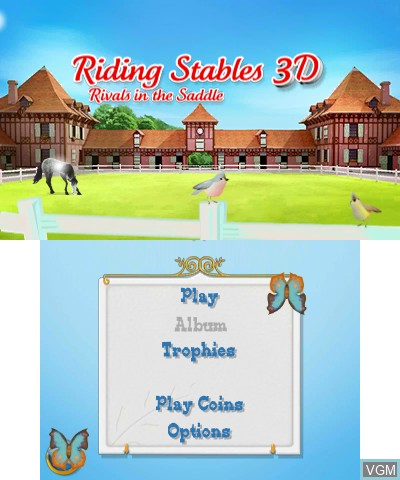 In-game screen of the game 2 in 1 - Horses 3D Vol.2 - Rivals in the Saddle and Jumping for the Team 3D on Nintendo 3DS