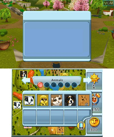In-game screen of the game 2 in 1 - Life with Horses 3D + My Baby Pet Hotel 3D on Nintendo 3DS