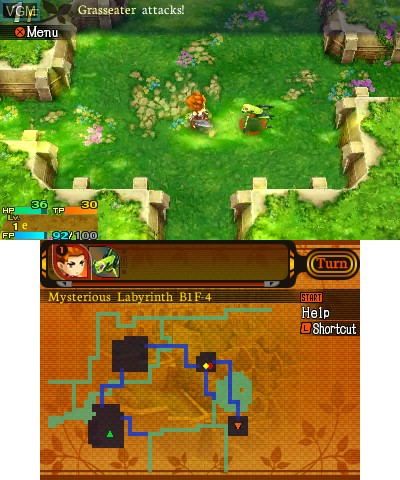 In-game screen of the game Etrian Mystery Dungeon on Nintendo 3DS