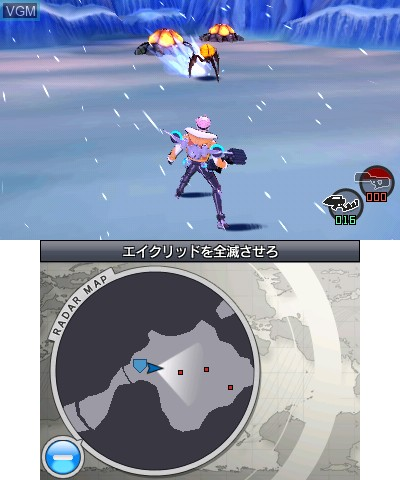 In-game screen of the game E.X. Troopers on Nintendo 3DS
