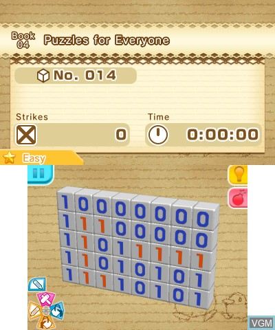 In-game screen of the game Picross 3D - Round 2 on Nintendo 3DS