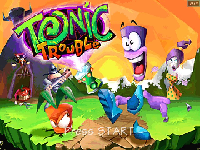Title screen of the game Tonic Trouble on Nintendo 64