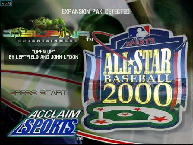 Title screen of the game All-Star Baseball 2000 on Nintendo 64
