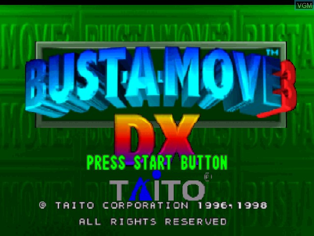 Title screen of the game Bust-A-Move 3 DX on Nintendo 64