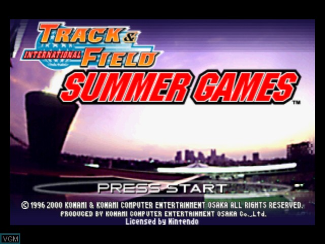 Title screen of the game International Track & Field Summer Games on Nintendo 64