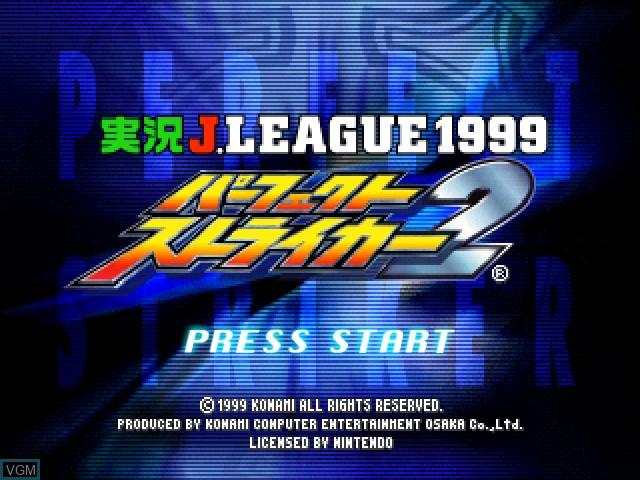 Title screen of the game Jikkyou J.League 1999 - Perfect Striker 2 on Nintendo 64