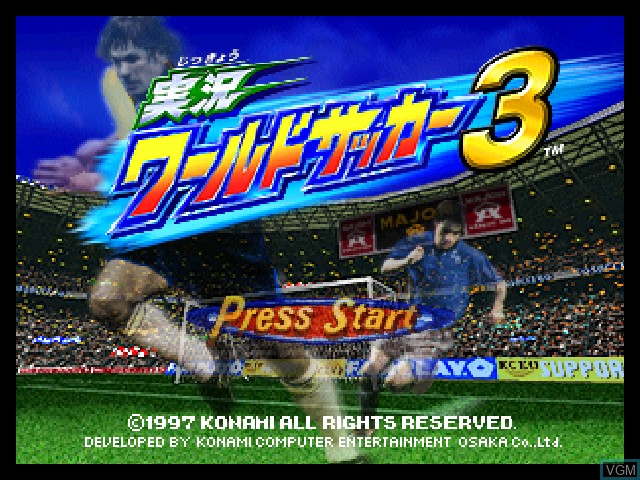Title screen of the game Jikkyou World Soccer 3 on Nintendo 64
