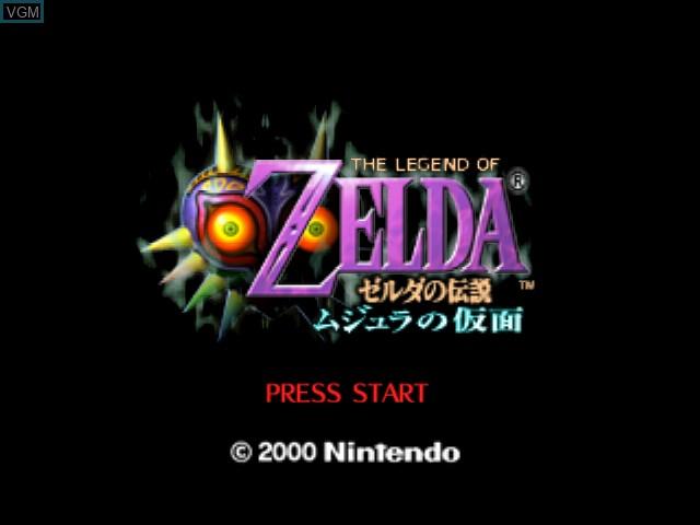 Title screen of the game Zelda no Densetsu - Majora no Kamen on Nintendo 64