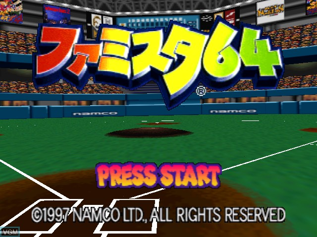 Title screen of the game Famista 64 on Nintendo 64