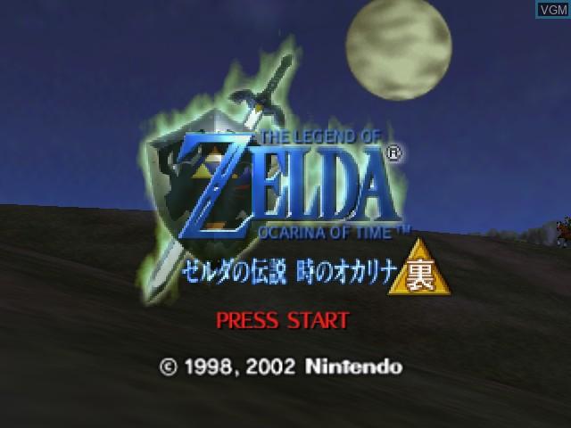 Title screen of the game Zelda no Densetsu - Toki no Ocarina GC URA on Nintendo 64