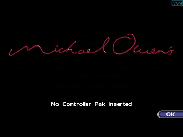 Title screen of the game Michael Owens WLS 2000 on Nintendo 64