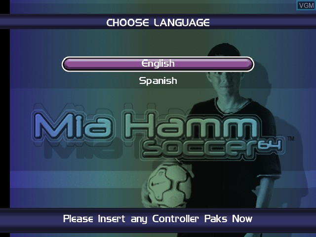 Title screen of the game Mia Hamm Soccer 64 on Nintendo 64
