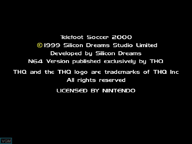 Title screen of the game Telefoot Soccer 2000 on Nintendo 64