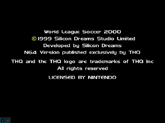 Title screen of the game RTL World League Soccer 2000 on Nintendo 64