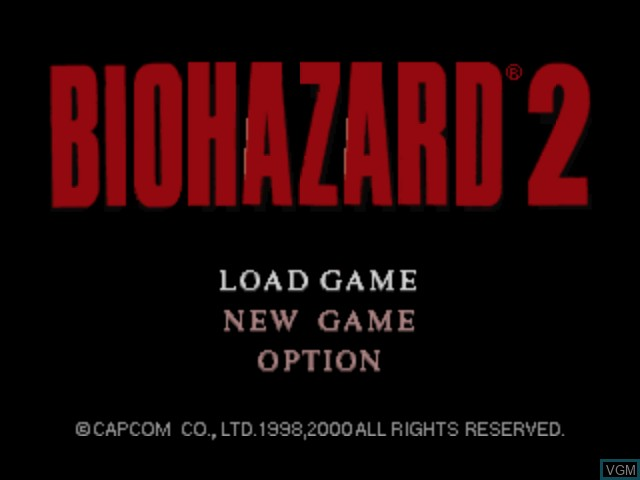 Title screen of the game Biohazard 2 on Nintendo 64