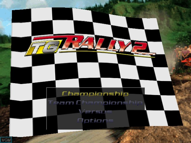 Title screen of the game TG Rally 2 on Nintendo 64