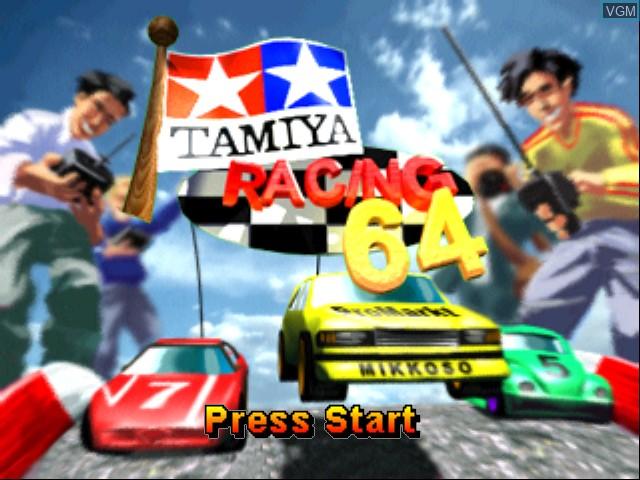 Title screen of the game Tamiya Racing 64 on Nintendo 64