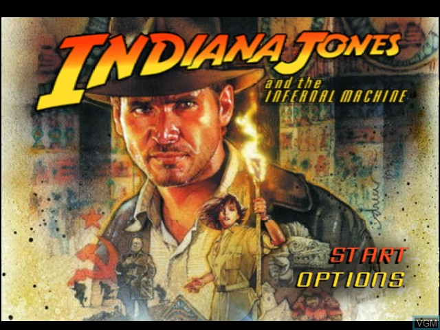 Title screen of the game Indiana Jones and the Infernal Machine on Nintendo 64