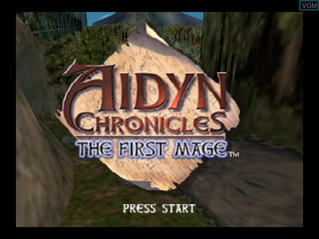 Title screen of the game Aidyn Chronicles - The First Mage on Nintendo 64