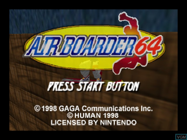 Title screen of the game Airboarder 64 on Nintendo 64
