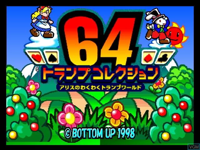 Title screen of the game 64 Trump Collection - Alice no Wakuwaku Trump World on Nintendo 64