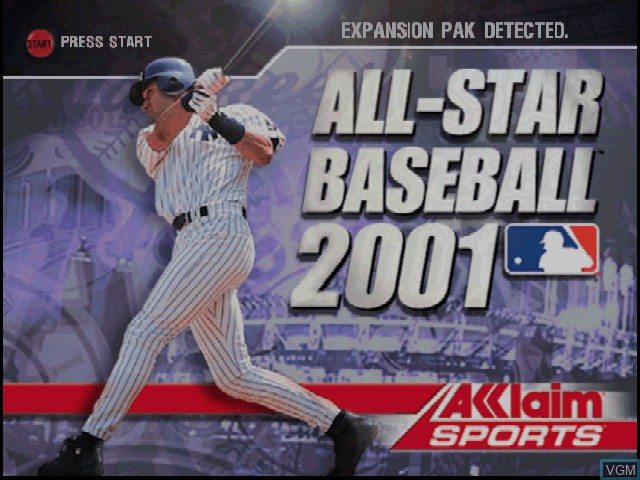 Title screen of the game All-Star Baseball 2001 on Nintendo 64