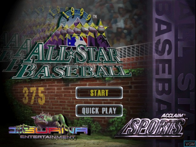 Title screen of the game All-Star Baseball '99 on Nintendo 64