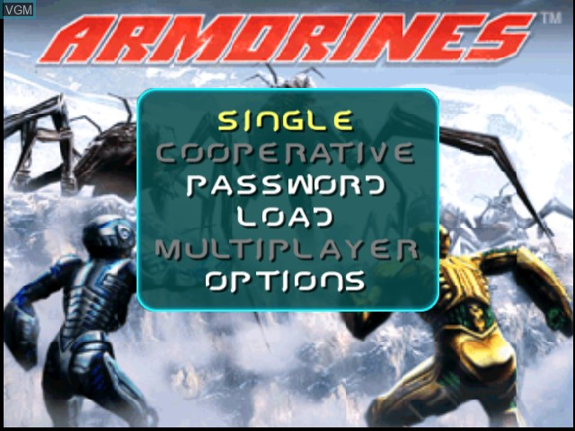 Title screen of the game Armorines - Project S.W.A.R.M. on Nintendo 64