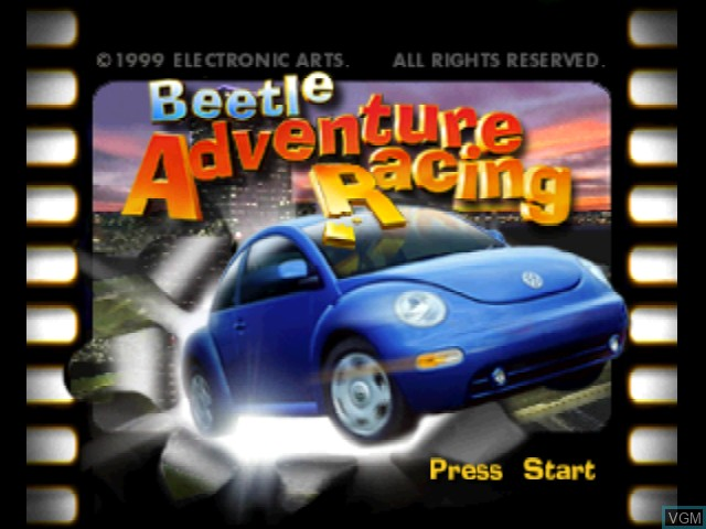 Title screen of the game Beetle Adventure Racing! on Nintendo 64