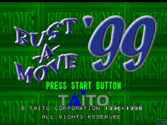 Title screen of the game Bust-A-Move '99 on Nintendo 64