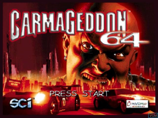 Title screen of the game Carmageddon 64 on Nintendo 64