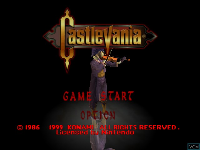 Title screen of the game Castlevania on Nintendo 64