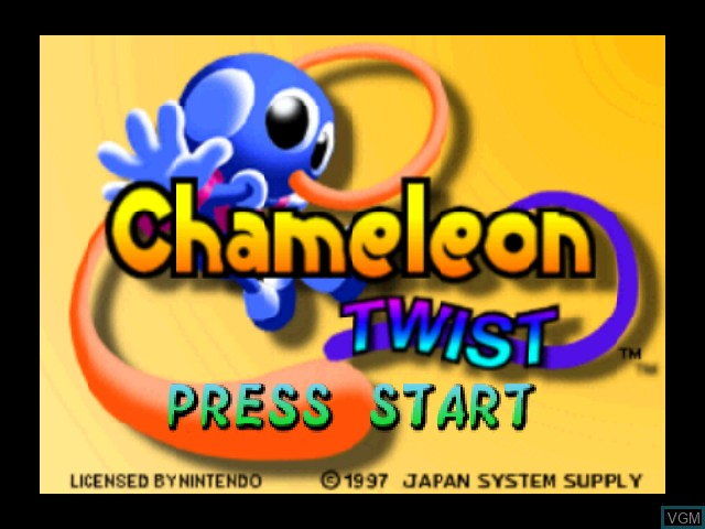Title screen of the game Chameleon Twist on Nintendo 64