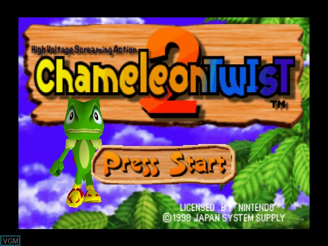 Title screen of the game Chameleon Twist 2 on Nintendo 64