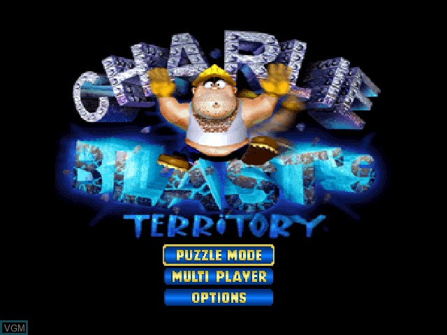 Title screen of the game Charlie Blast's Territory on Nintendo 64