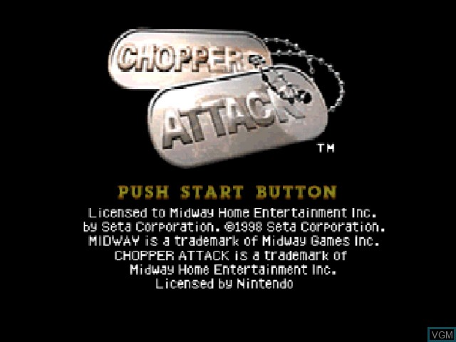 Title screen of the game Chopper Attack on Nintendo 64