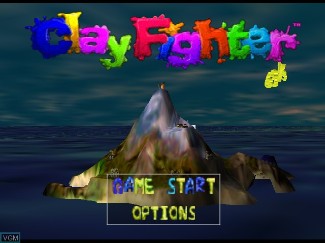 Title screen of the game Clay Fighter 63 1-3 on Nintendo 64