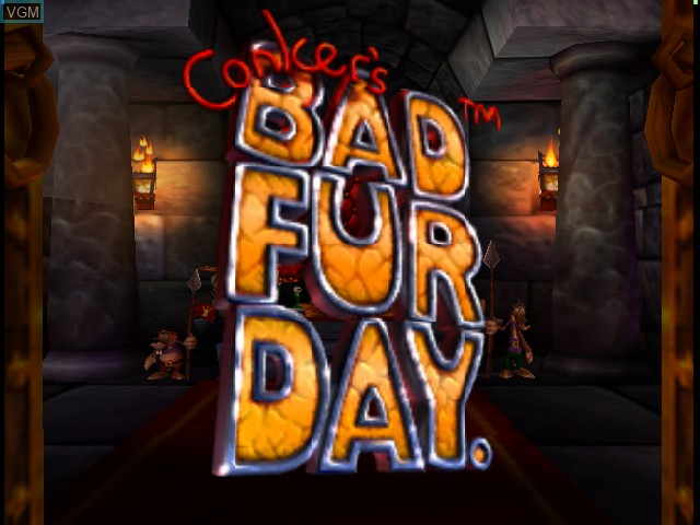 Title screen of the game Conker's Bad Fur Day on Nintendo 64