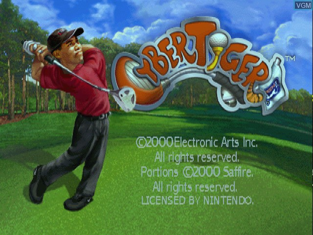 Title screen of the game CyberTiger on Nintendo 64